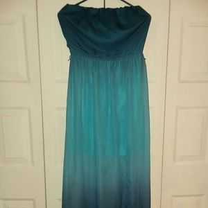 Studio Y Blue floor length strapless dress